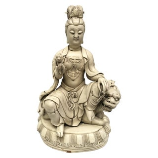 Quan Yin Seated on a Dragon Lion For Sale