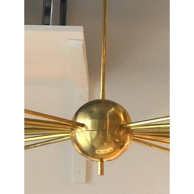 Mid-Century Modern Italian Stilnovo Style Brass & White Glass Sputnik Chandelier 1960s For Sale - Image 9 of 12