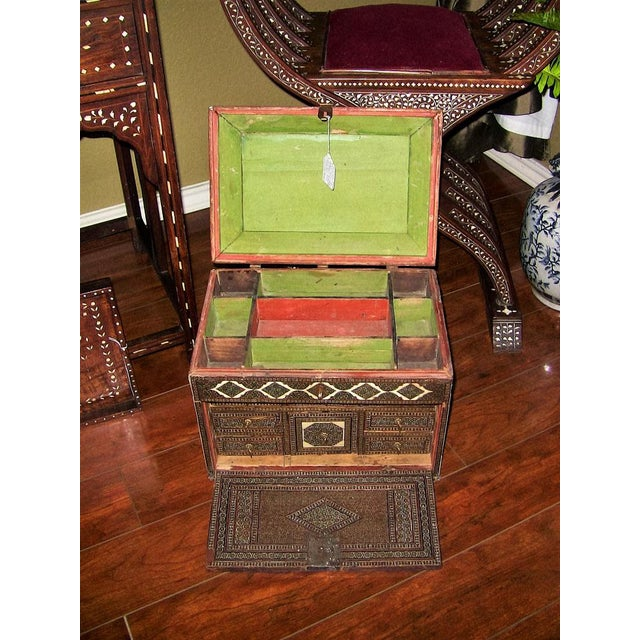 Brown 18c Indo Portugese or Persian Vargueno Mini Cabinet For Sale - Image 8 of 13