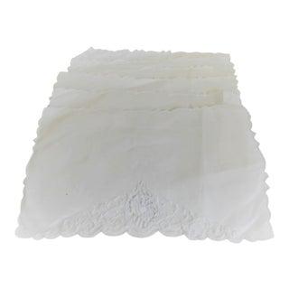 White Linen Vintage Cocktail Napkins - Set of Six For Sale
