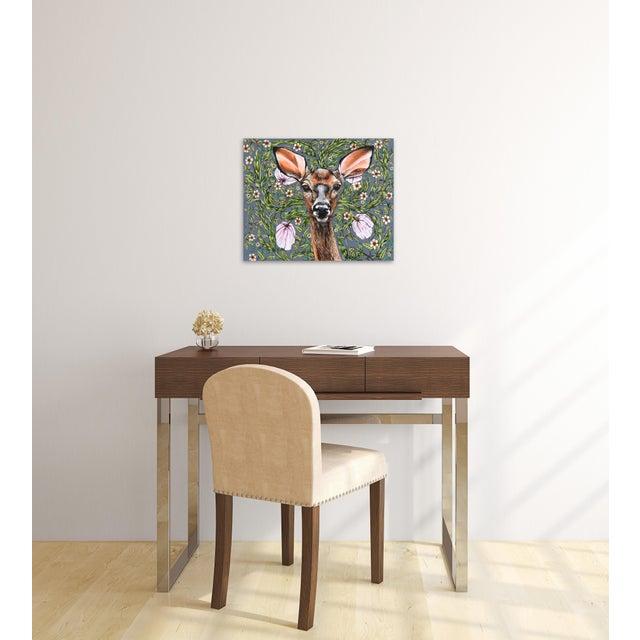 "Green ""Deer"" Original Artwork by Naomi Jones For Sale - Image 8 of 9"