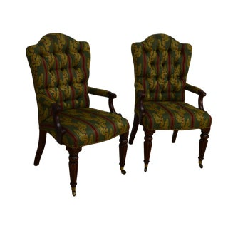 Early 21st Century Vintage Henredon Mahogany Arm Chairs - a Pair For Sale