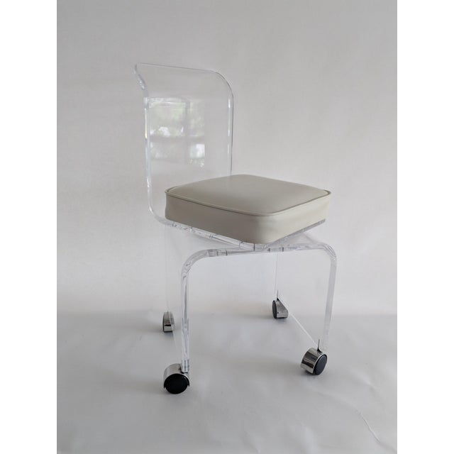 Lucite Vanity Swivel Stool / Chair - Image 2 of 8