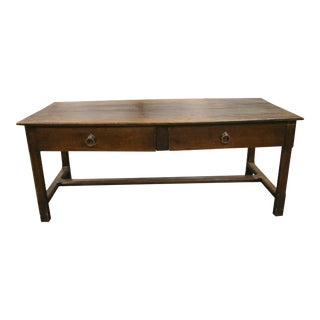 1850 French Oak Dining/Console Table With 2 Drawers and Stretcher Base