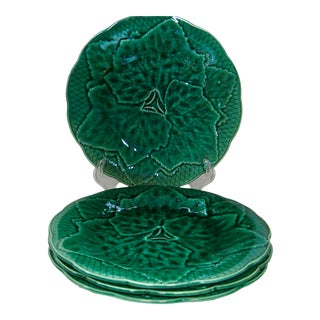 1940s Majolica Gien France Green Leaf Plates - Set of 4 For Sale