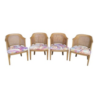 1970s Hollywood Regency Henredon Cane Barrel Back Chairs - Set of 4