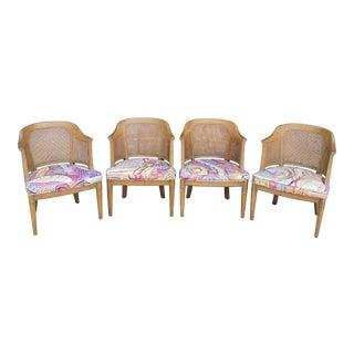 Vintage Henredon Cane Barrel Back Chairs - Set of 4