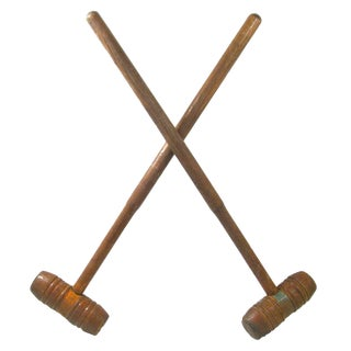 Antique English Barrel-Head Croquet Mallets, Pair For Sale