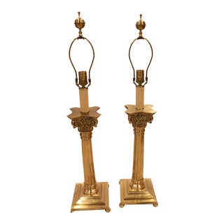 Classic Corinthian Column Brass Table Lamps by Wild Wood - a Pair For Sale