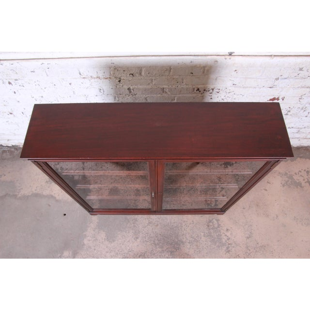 Wood Antique Mahogany Glass Front Double Bookcase, Circa 1900 For Sale - Image 7 of 12