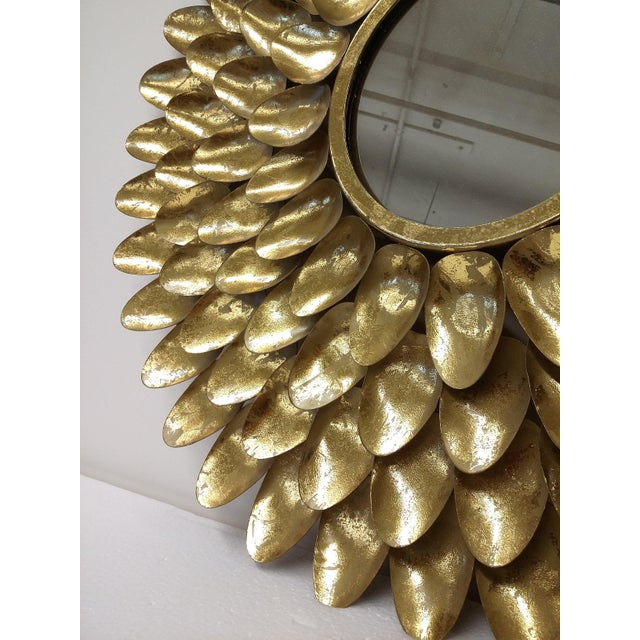 Gold Metal Sunburst-Style Mirror - Image 5 of 9