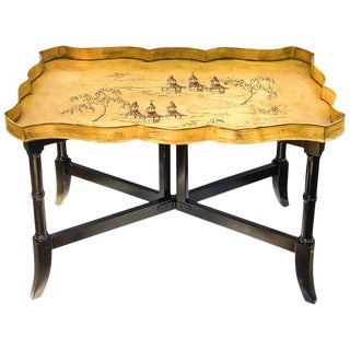1950s Italian Tole Chinoiserie Pagoda Tray Table on Faux Bamboo Base For Sale