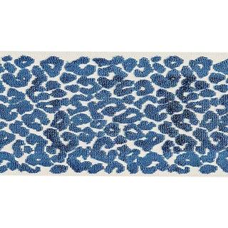 Sample, Scalamandre Leopard Velvet Indigo Tape For Sale