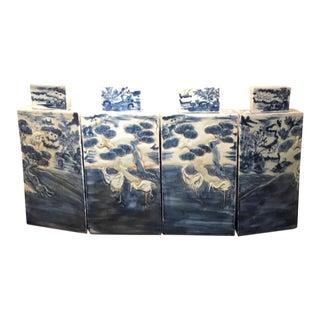 Blue & White Ginger Jars - Set of 4