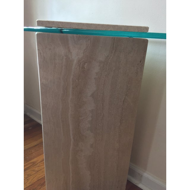 1980s Postmodern Geometric Travertine and Glass Console Table For Sale - Image 9 of 11