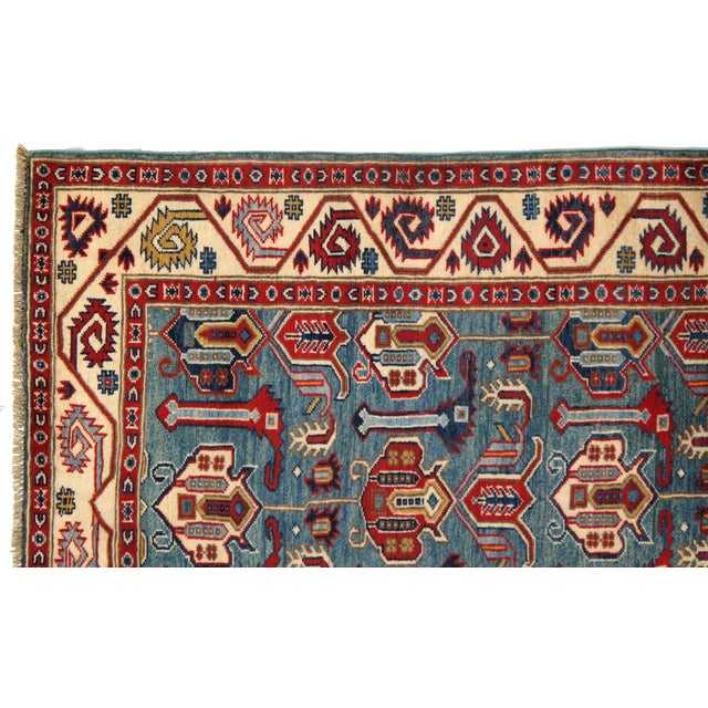 Contemporary Pak Kazak Lamb's Wool Rug - 3′6″ × 5′ For Sale - Image 4 of 5