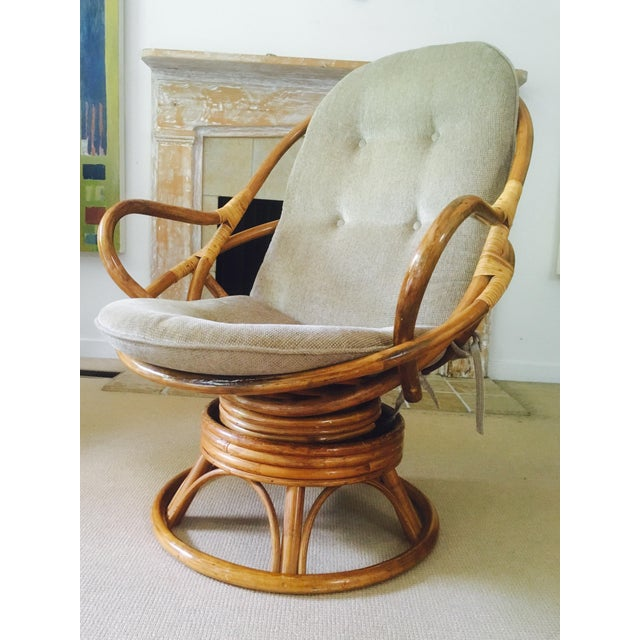 Vintage Bamboo Swivel Lounge Chair - Image 2 of 7