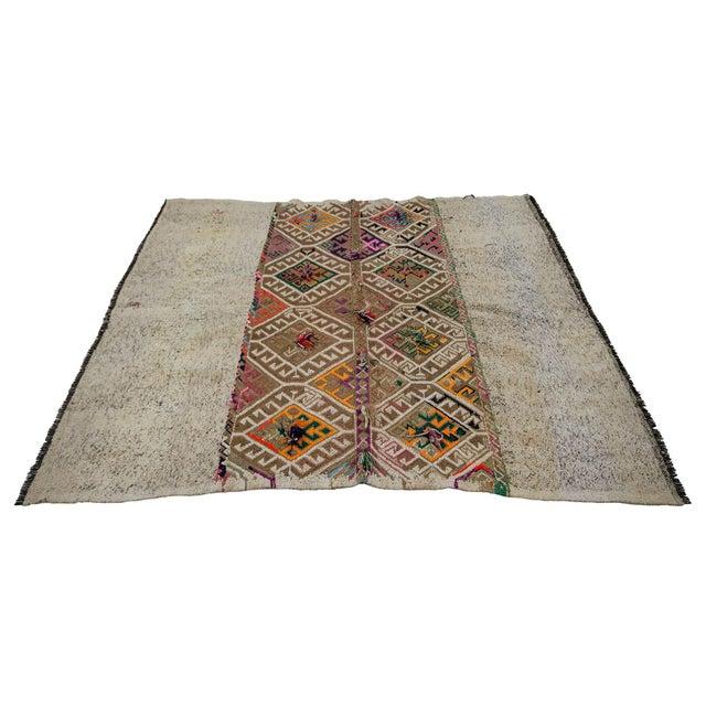 Vintage Decorative Kilim Rug- 5′1″ × 5′9″ For Sale - Image 4 of 7
