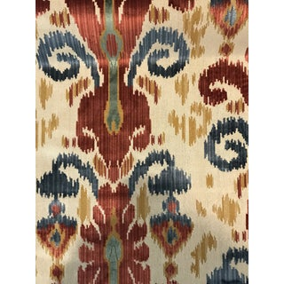 Traditional Kravet Ikat Pardah Cut Velvet in Jewel - 1 Yard Fabric For Sale