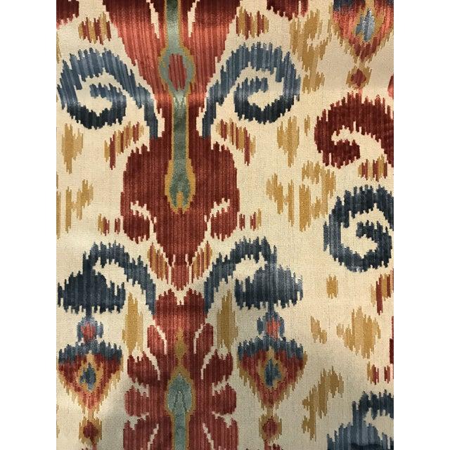 Traditional Kravet Ikat Pardah Cut Velvet in Jewel - 1 Yard Fabric For Sale