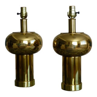 Mid-Century Modernist & Sculptural Brass Ball Lamps - a Pair For Sale