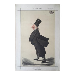Antique Caricature of the Duke of Wellington From Vanity Fair, June 22, 1872