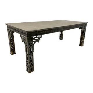 Vintage Chinese Chippendale Style Dining Table With 2 Leaves For Sale