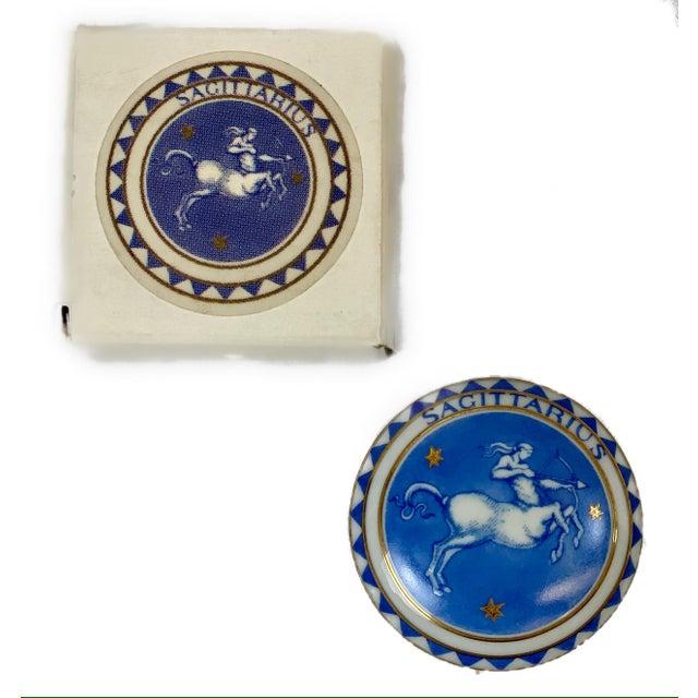 "Vintage Milestone by Mottahedeh Zodiac Sagittarius Ring/Pill Box (2 3/8""x1 1/4"")."