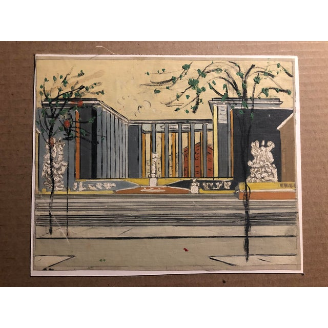 Mid-Century Oil on Canvas of a Modern Classical Courtyard With Sculpture 1960s For Sale - Image 9 of 9
