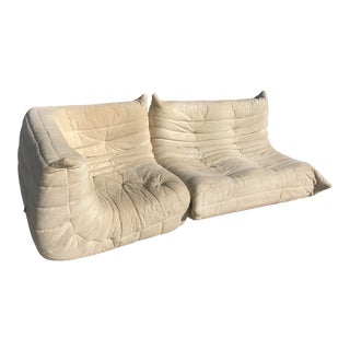 1970s Mid-Century Modern Ligne Roset Togo French Sectional Sofas - 2 Pieces For Sale
