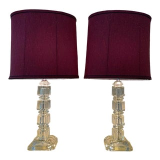 Vintage 1940's Stacked Crystal Table Lamps with Shades - a Pair For Sale