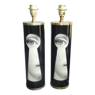 Piero Fornasetti Mid Century Modern Italian Keyhole Julia Lamps - a Pair For Sale