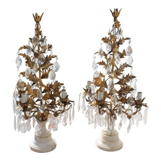 '40's Hollywood Regency Gilt Tole Topiaries - a Pair - 4 Lights Each