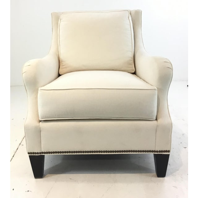 Stylish Thomasville Transitional White Natural Cotton Club Chair, antique brass nailhead accents, black wood feet,...