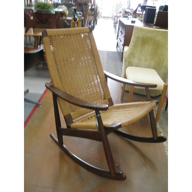 Hans Wegner Style Rope Rocking Chair - Image 8 of 8