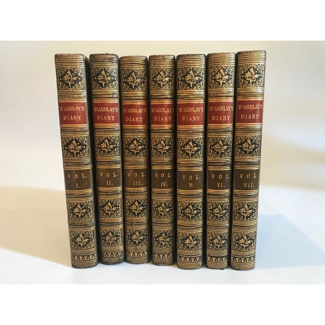 Antique All Leather Volumes of Darblay's Diary Books - Set of 7 For Sale - Image 4 of 9