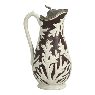 "Antique English ""Beech & Hancock"" Stoneware Pitcher With Its Original Lid For Sale"
