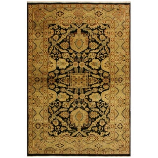 Istanbul Dorla Black/Tan Turkish Hand-Knotted Rug -4'2 X 6'7 For Sale