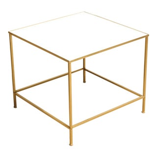 Modernist Milk Glass and Brass Side Table