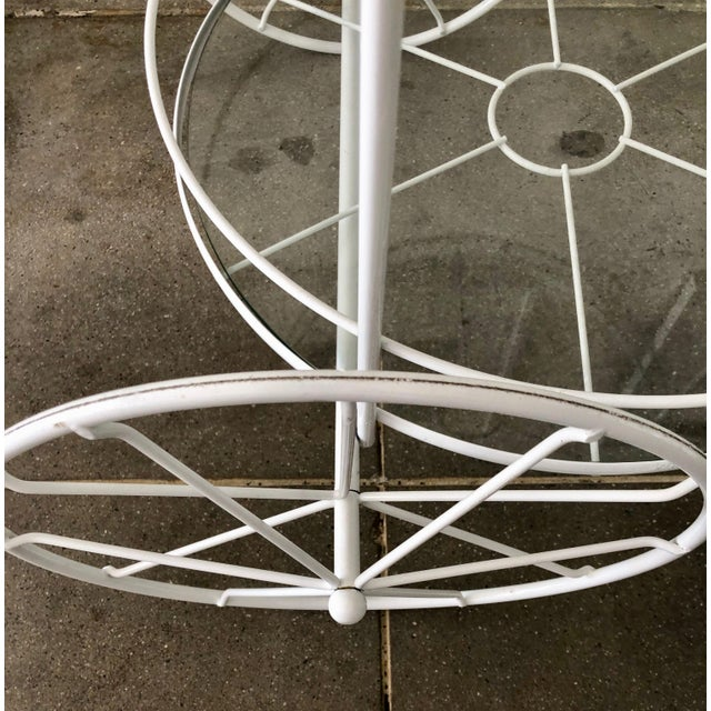 Mid 20th Century White Vintage Indoor Outdoor Patio Bar Cart with Wooden Handle For Sale - Image 5 of 13