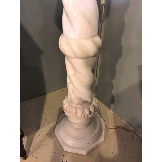 Fine Neoclassical Alabaster Figure of a Water Maiden Lighted on a Pedestal For Sale - Image 9 of 11