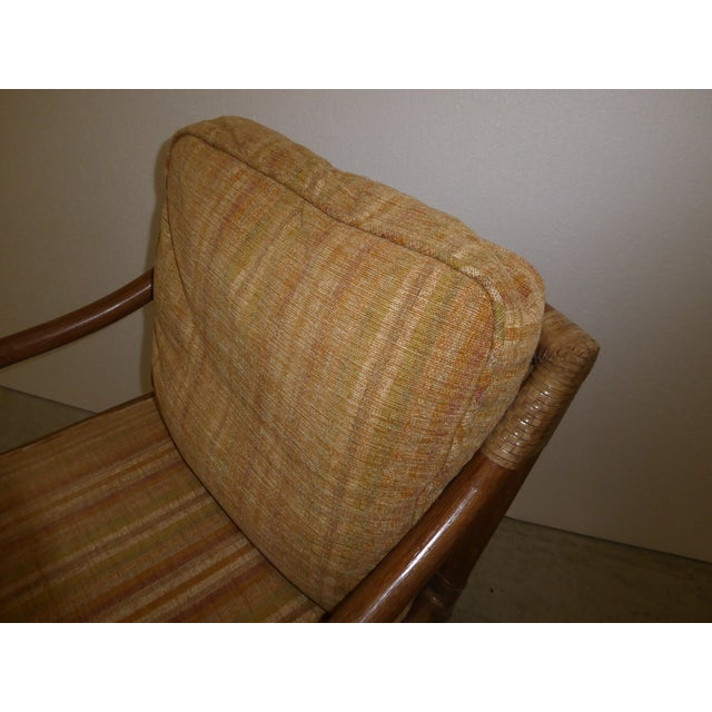 Tan Vintage Mid Century Modern McGuire Tan Stripped Bamboo Rattan Accent Chair For Sale - Image 8 of 12