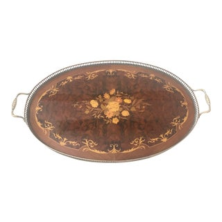 Monumental Italian Marquetry Inlay Serving Tray Oval For Sale