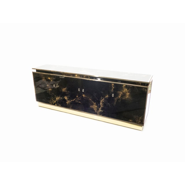 Maison Jansen Rare Golden Lacquer and Brass Maison Jansen Sideboard 1970s For Sale - Image 4 of 13