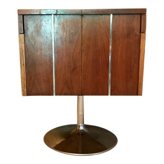 Mid-Century Modern Lane Walnut Bar Cabinet Cart