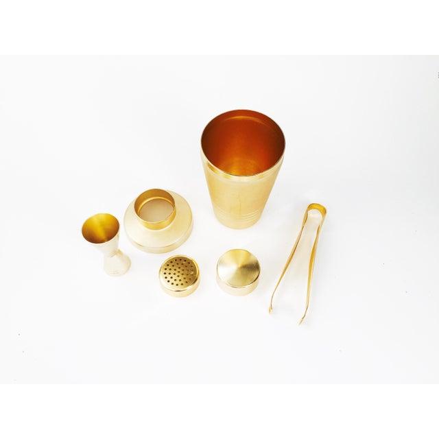 Vintage Mirro Mid-Century Matte Gold Cocktail Set - Set of 3 - Image 5 of 6