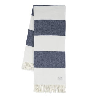 Navy Rugby Stripe Throw For Sale
