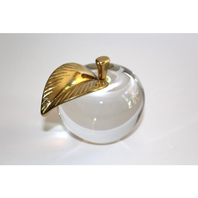 Barbini 1970's Crystal Apple Paperweight With Brass Stem & Leaf For Sale - Image 4 of 11