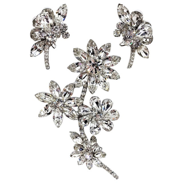 1960s Juliana Clear Faceted Marquis Brooch and Earrings Set For Sale