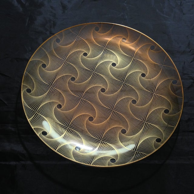 Op Art Gilded Glass Serving Plate - Image 10 of 10